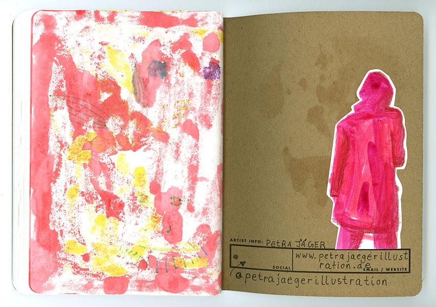 Sketchbook Petra Jäger Tintenzeichnung abstrakt und Frau in Rückenansicht