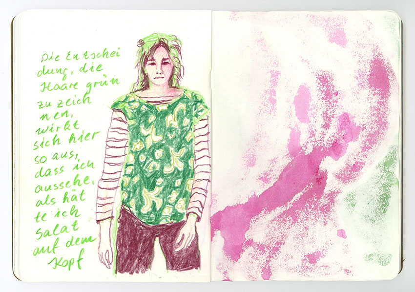 Sketchbook Petra Jäger Buntstift-Zeichnung Frau in Magenta und Grün
