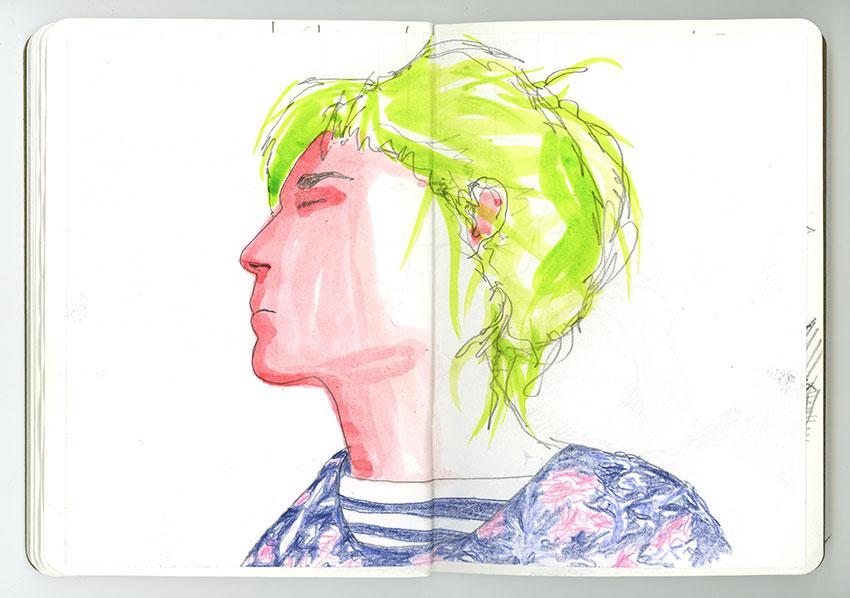 Sketchbook Petra Jäger Portrait Frau im Profil / in Seitenansicht