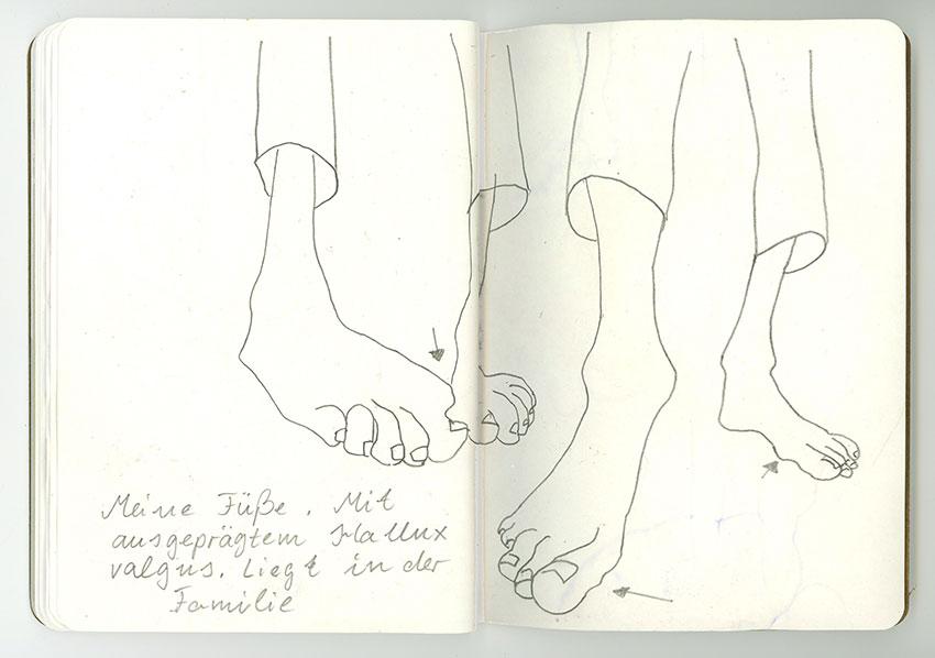 Sketchbook Petra Jäger Füße mit Hallux Valgus