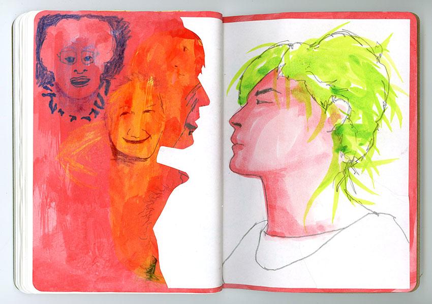 Sketchbook Petra Jäger Portraitzeichnung in Scherenschnitt-Technik und Aquarell