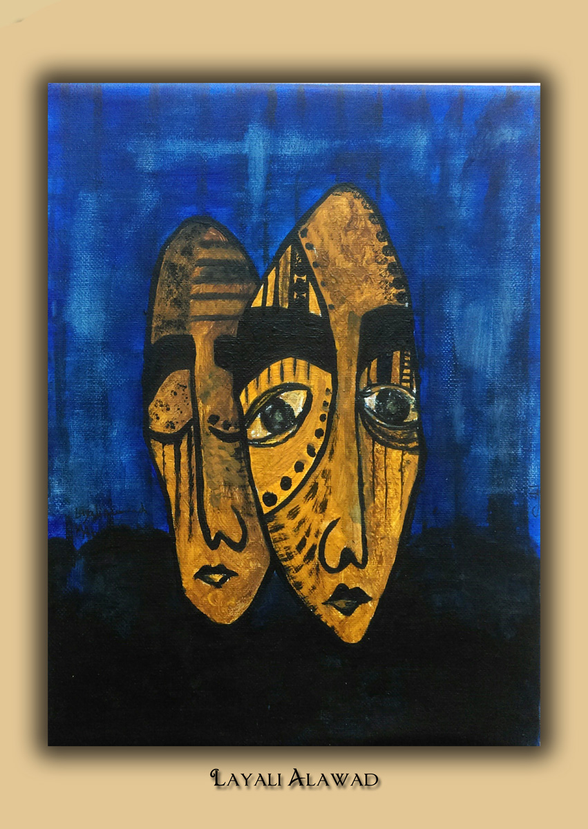 Die Kunst der Layali Alawad, Portrait drei Acryl auf der Aachener Kunstroute 2016