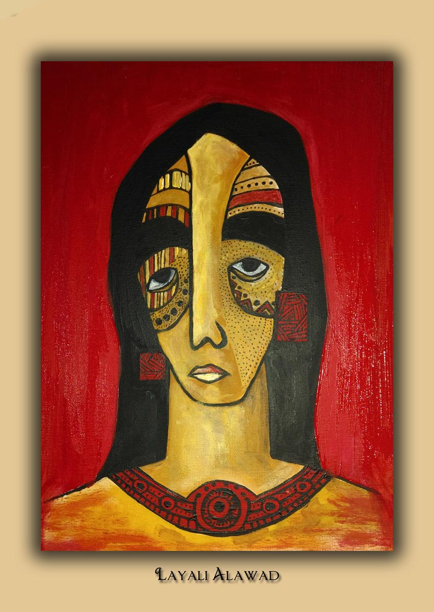 Die Kunst der Layali Alawad, Portrait vier Acryl auf der Aachener Kunstroute 2016