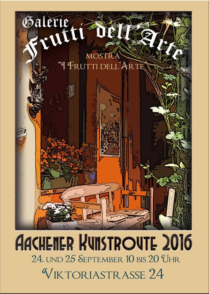 """Plakat für die Ausstellung """"I Frutti dell'Arte"""" auf der Aachener Kunstroute 2016 am 23., 24. und 25. September ind Aachen. Kunst in Aachen in der Galerie Frutti dell'Arte."""