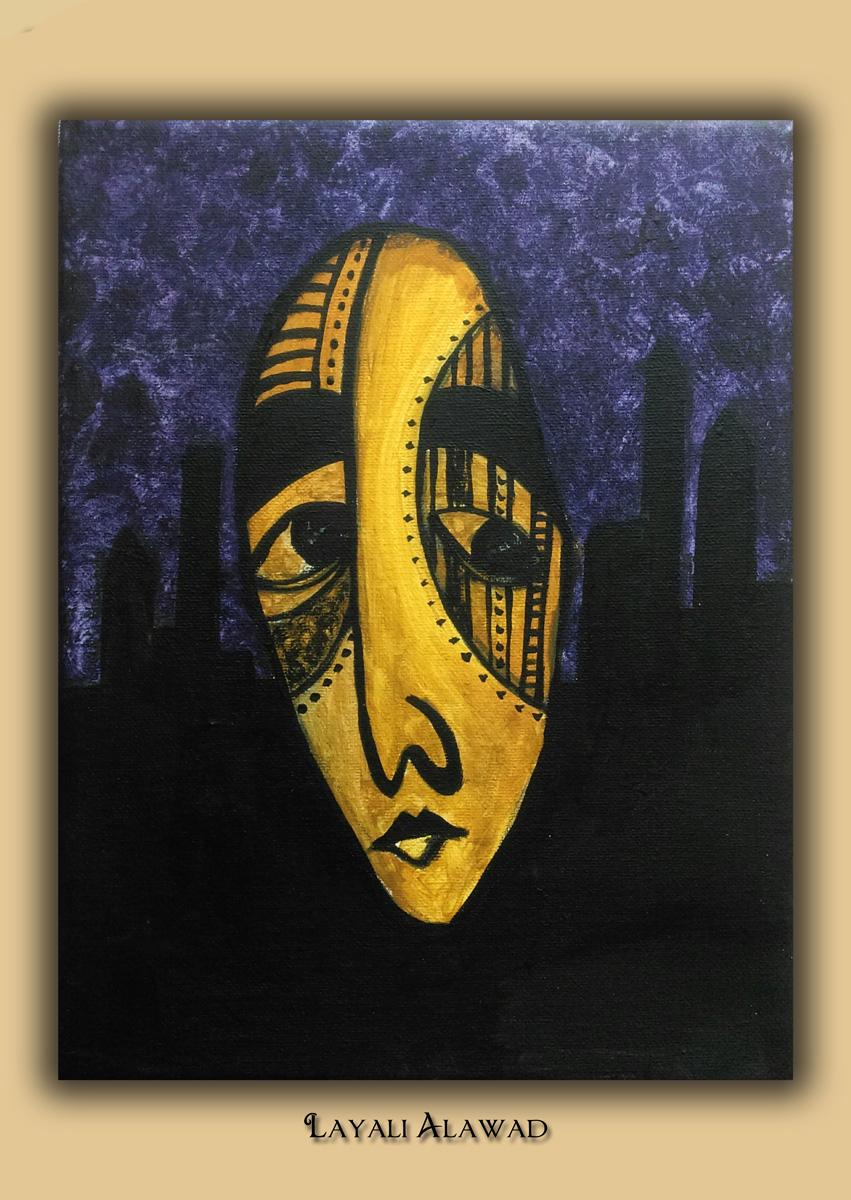 Die Kunst der Layali Alawad, Portrait zwei Acryl auf der Aachener Kunstroute 2016