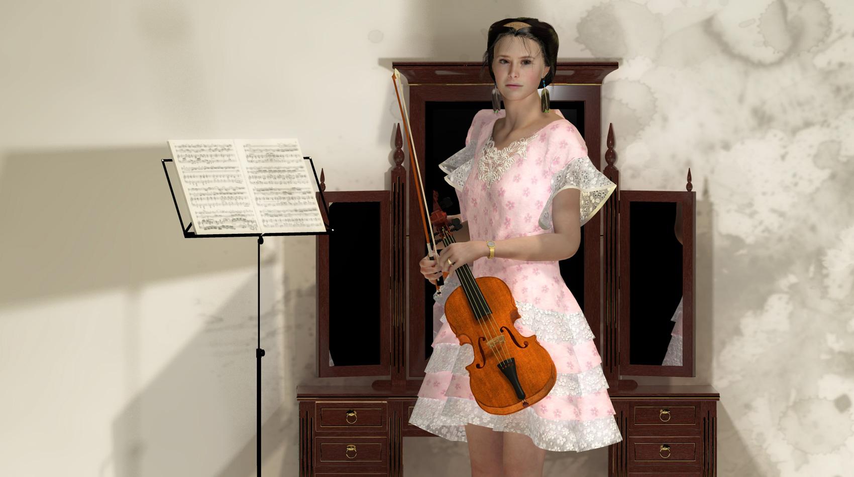 Artemisia mit Geige, Artemisia dell'Arte auf der Aachener Kunstroute 2017 in der Galerie Frutti dell'Arte und in der Aula Carolina