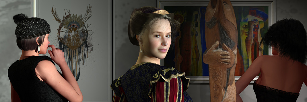 Besucher vor Bilder und Skulpturen auf der Aachener Kunstroute 2015 in der Galerie Frutti dell'Arte in der Viktoriastrasse 24. Die Galerie hat die Staionsnummer 20 auf der Aachener Kunstroute.