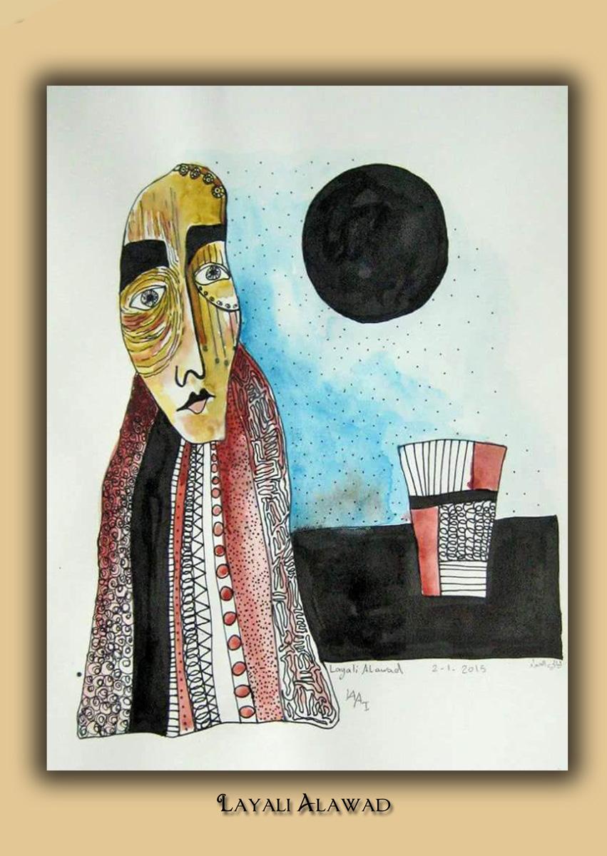 Die Kunst der Layali Alawad, Aquarel und Tusche auf der Aachener Kunstroute 2016