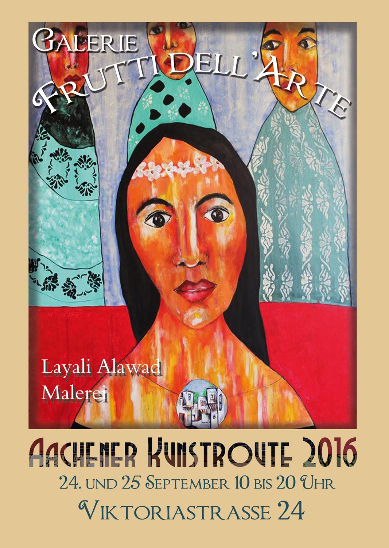 Plakat zur Aachener Kunstroute 2016 von Layali Alawad