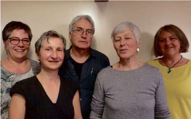 Ner neue Vorstand: v. li. Marianne Marti, Bettina Bleichenbacher, John Tinguely, Margrit Kamm, Elsbeth Marti
