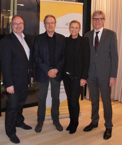 Obmann Manfred Rünzler, Prof. Dr. Heinrich Geissler, Obfrau Doris Zimmermann, Vorstandsvorsitzender Vorarlberger Raiffeisenlandesbank Wilfried Hopfner