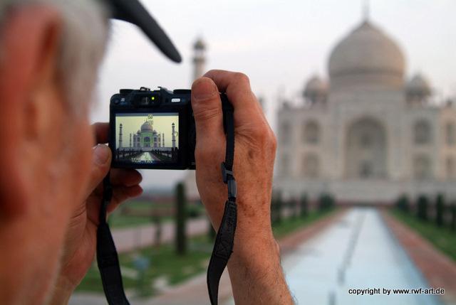 Fotografenblick auf das Taj Mahal, Indien