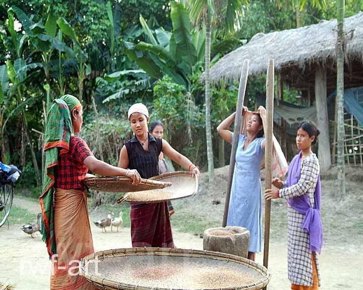 Frauenarbeit auf Majuli