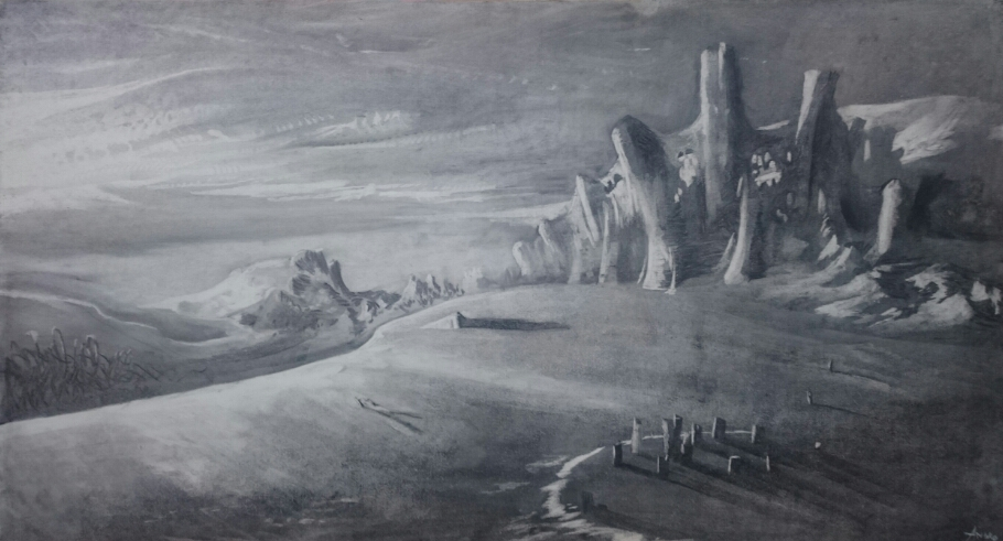 2017 - Beach - Charcoal on MDF Board - 110 x 60 cm - AVAILABLE