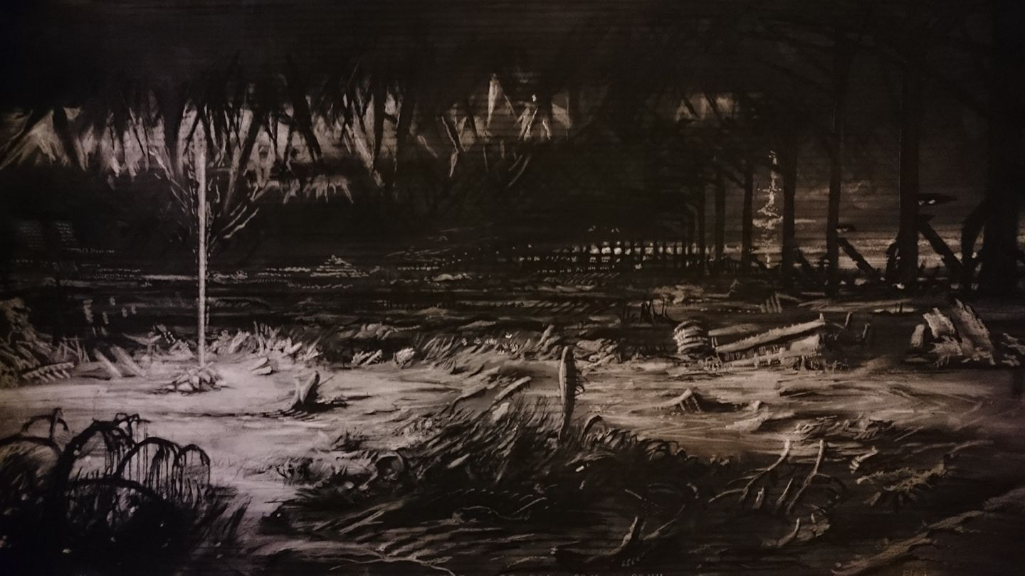 Lombardsijde (110 x 60 cm; charcoal on mdf; varnish) AVAILABLE