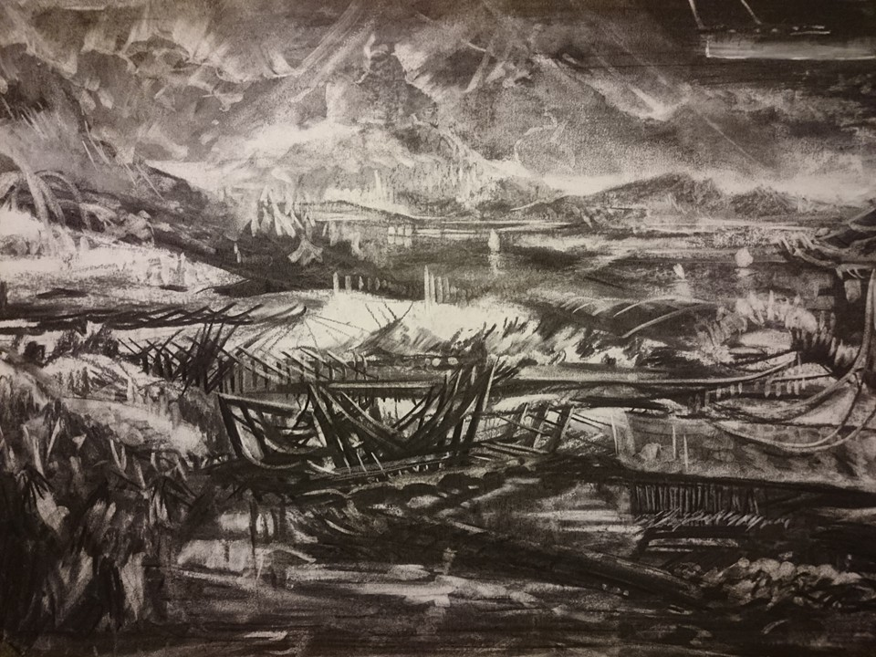 2015 - Broken ship - Charcoal on paper-  60 x 40 cm - AVAILABLE