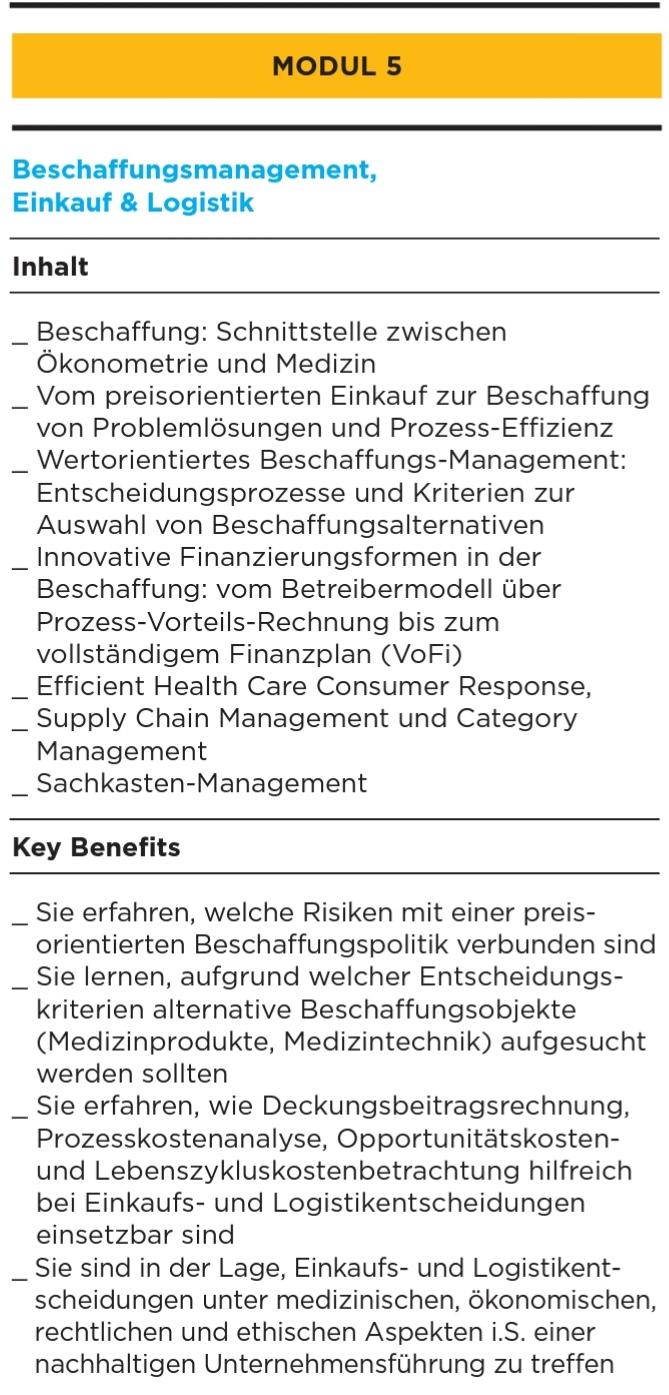 Modul 5 Beschaffung, Einkauf und Logistik der HHL Leipzig