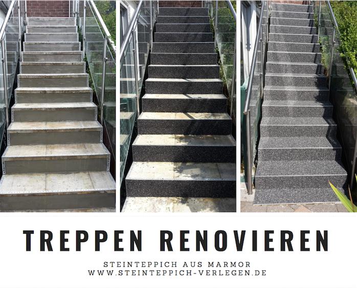 Treppenrenovierung, Steinteppich auf Treppen verlegen