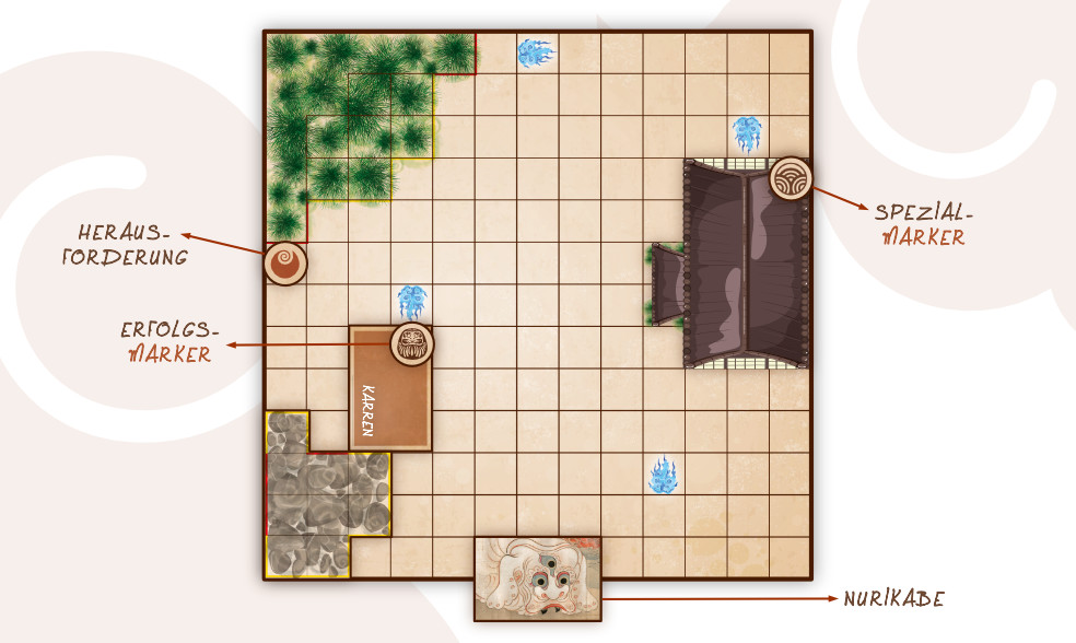 ©Kowai Monogatari – Spielplan und Marker