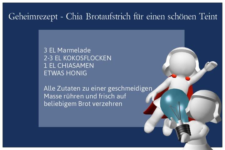 Geheimrezept Chia Brotaufstrich, Kleiner Geheimtipp:  Ein leckeres knuspriges Vollkornbrot mit selbstgemachten Chia – Brotaufstrich. Das Rezept für den Aufstrich will ich euch nicht vorenthalten, denn es ist wirklich super einfach zubereitet und garantier
