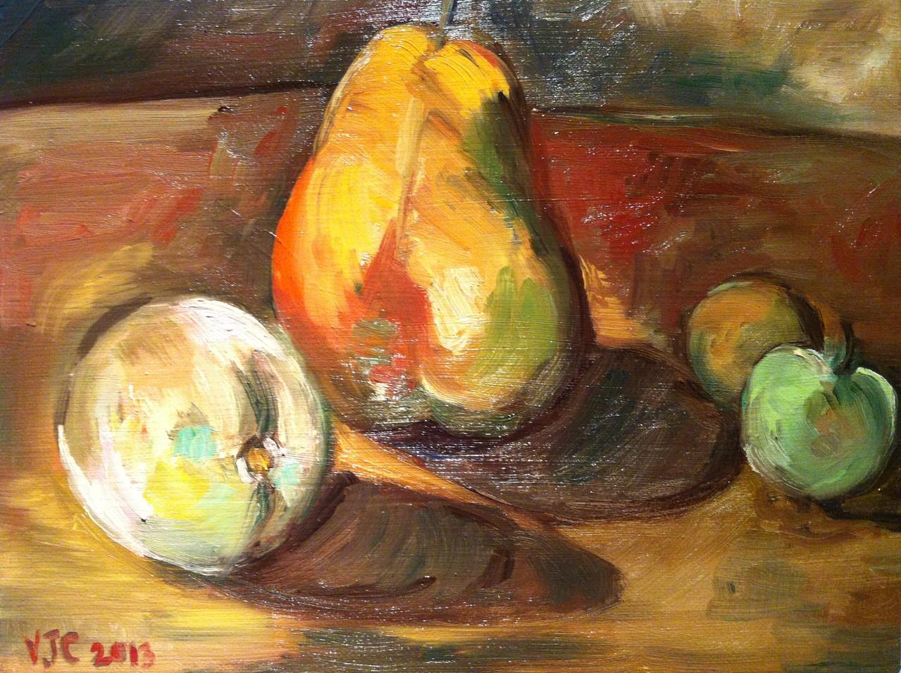 POMME, POIRE ET PRUNES, Huile sur toile 3F, 27x22 cm /2013