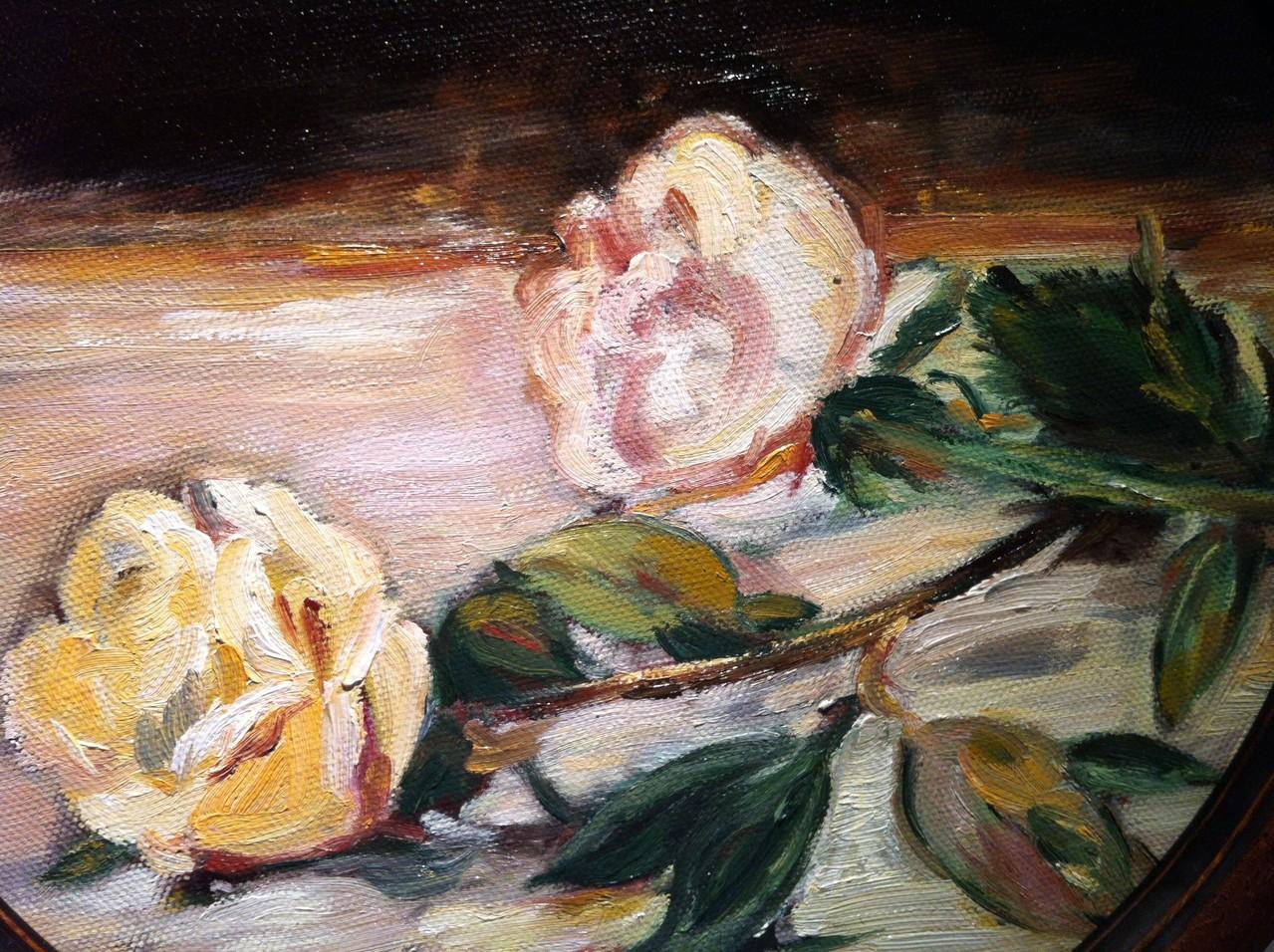 DEUX ROSES (tondo, encadré), Huile sur toile D 30 cm /2012