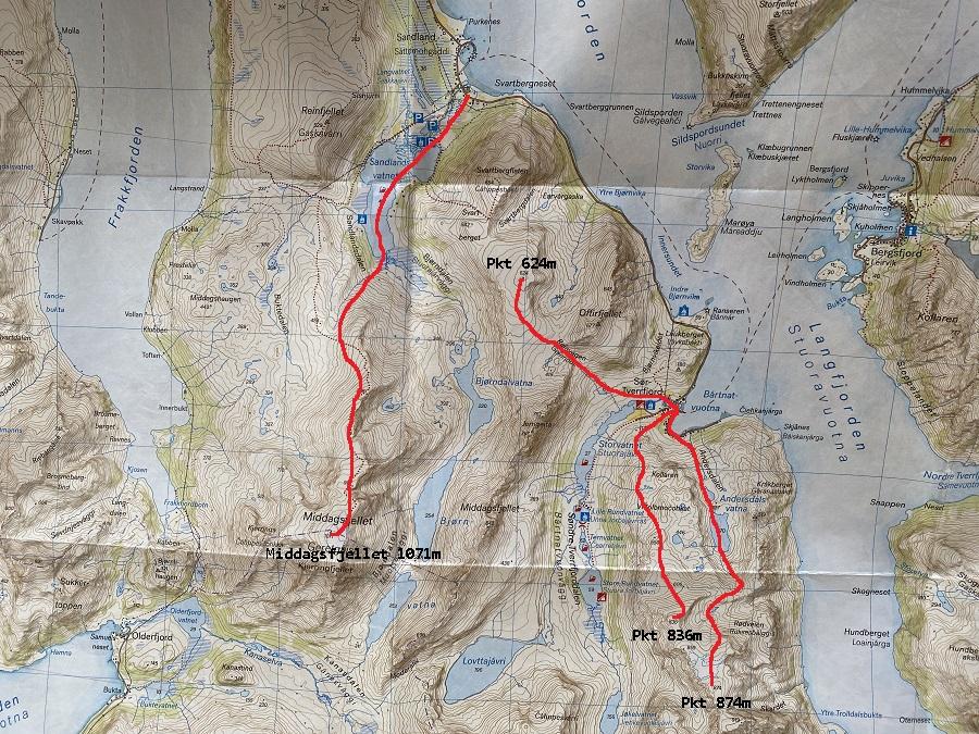 Karte Skitouren Sør Tverrfjord Ski Touring Loppa