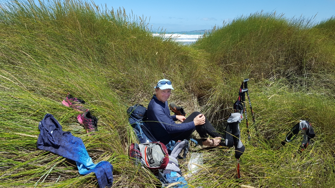 lange Pause wegen der King Tide, der Strand war nicht begehbar