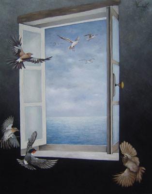 L'échappée belle - Huile sur toile - 73 x 60 cm