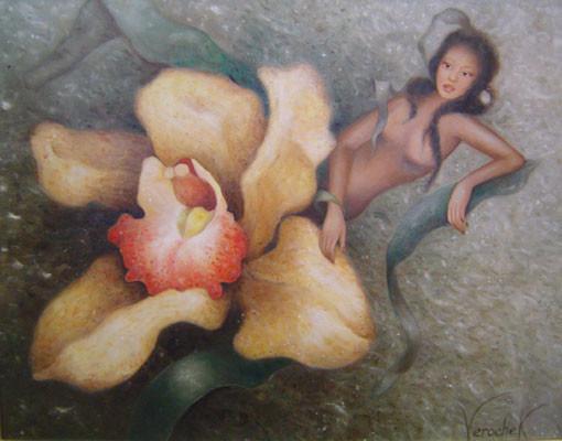 Fille d'Orchidée - Huile sur toile - 46 x 56 cm