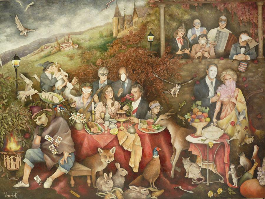 Les invités du crépuscule - Huile sur toile - 130 x 97 cm