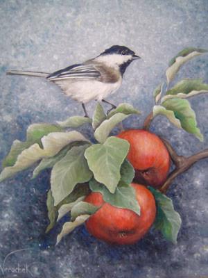 Mésange sur une branche de pommier - Huile sur toile - 46 x 38 cm