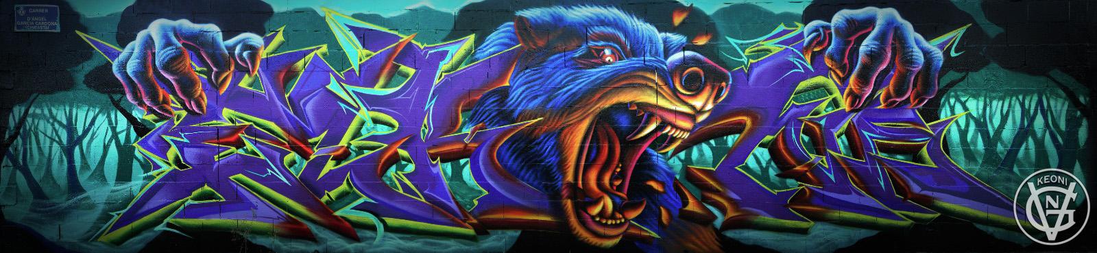 Moonlight Roar, Mural junto a mi compañero de Grow Up Crew Elrond, Valencia, Spain, 2017.