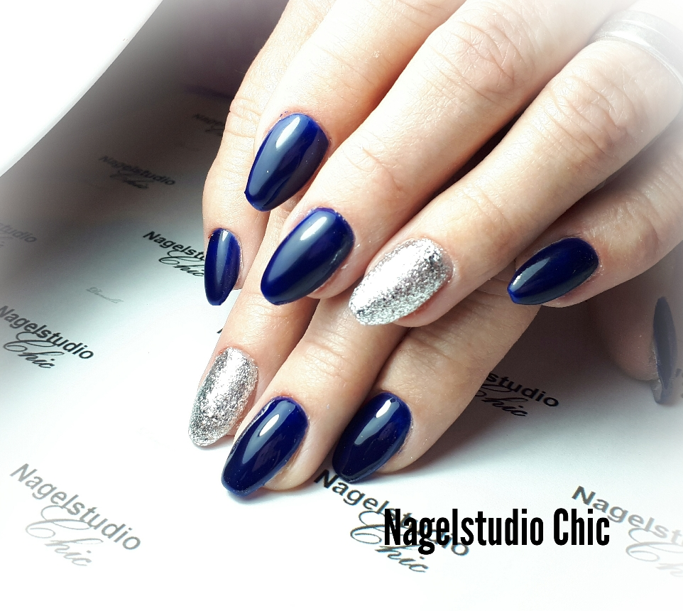 Royal blue met zilver glitter