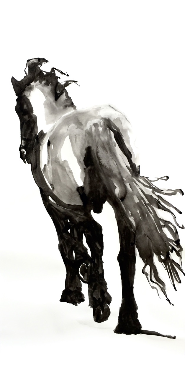 Horse study, ink on paper 200x150cm by Philine van der Vegte