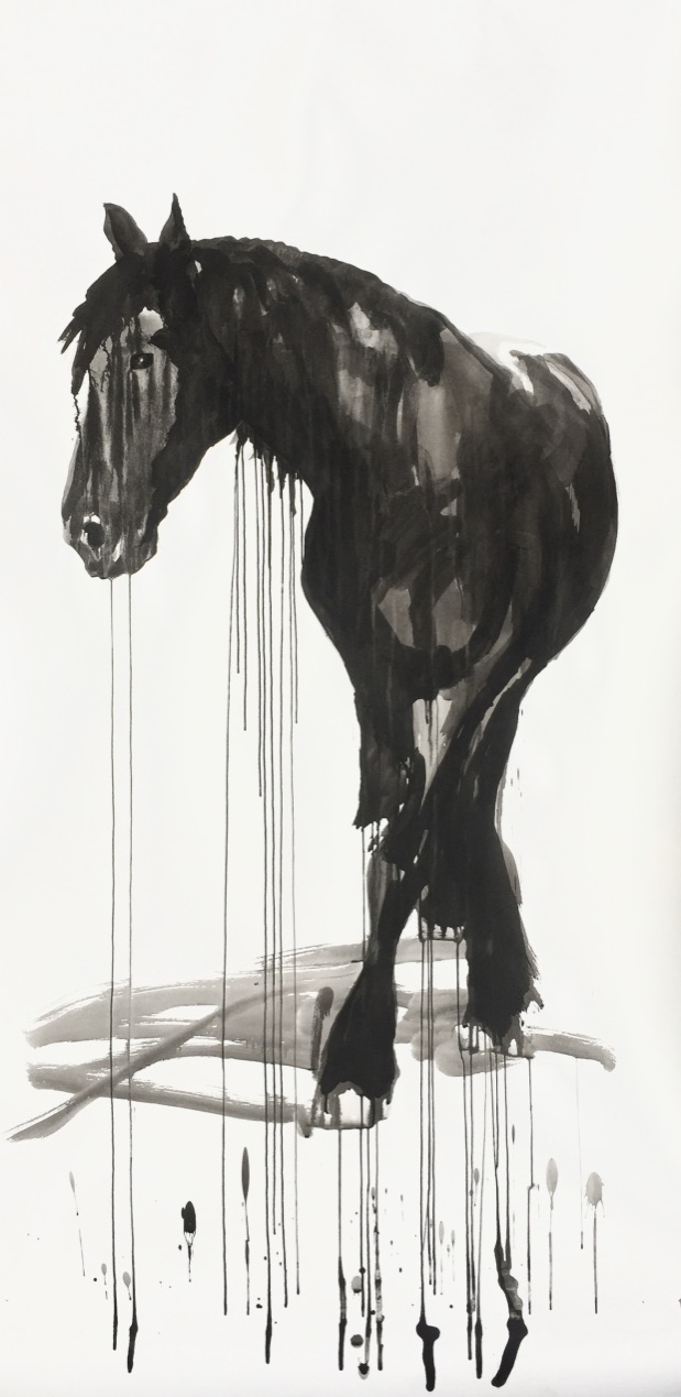 Horse study #8, ink on paper 200x100cm by Philine van der Vegte