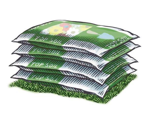 重量や容量で売られる園芸用土。20kg の袋で 60 x 90 cm の区画に相当。野菜が十分に根を生やせる。  KEITH WARD