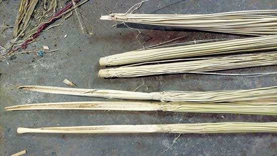 切り終えた毛の例:上は内側用、下は外側用。