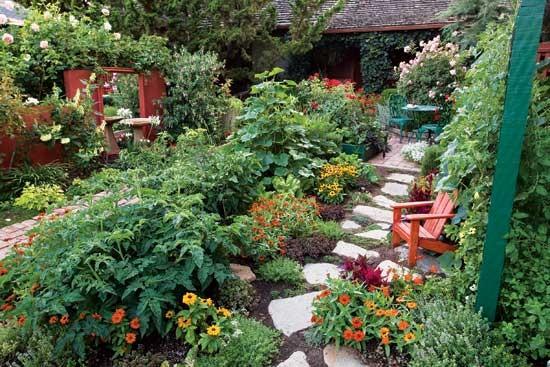 作物、花、踏み石、イスを組合わせ、 食べ物豊富な裏庭で癒しになる。
