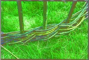 骨組みの周りに細いヤナギを編み、船縁を形作る。