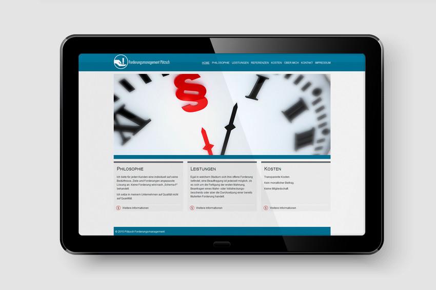 Forderungsmanagement Pötzsch - Screendesign