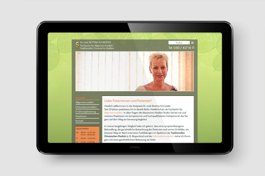 Praxis Dr. Schneider - Screendesign