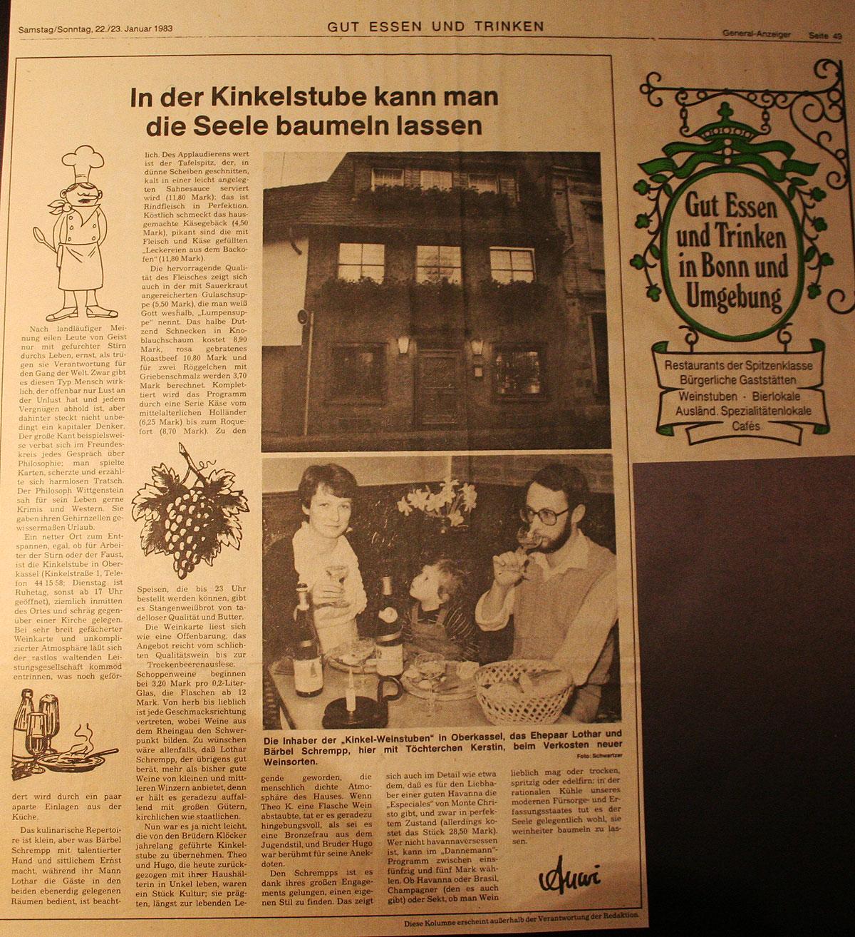 General Anzeiger Weinhaus Kinkel Stuben