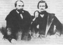 Kinkel und Schurz nach Kinkels Befreiung aus dem Zuchthaus 1850