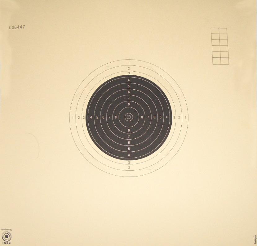 Bild einer KK-Langwaffenscheibe für die 50 Meter Bahn.