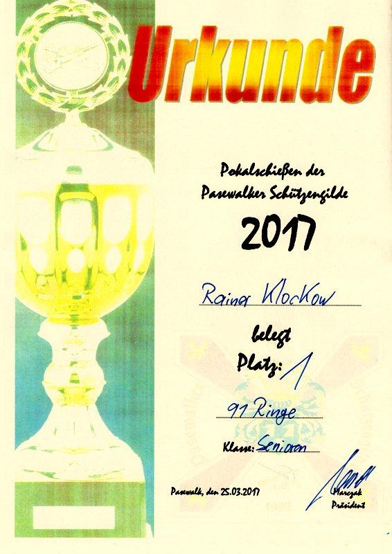 Urkunde von Rainer Klockow für den 1. Platz beim Pokalschießen der Pasewalker Schützengilde am 25.03.2017