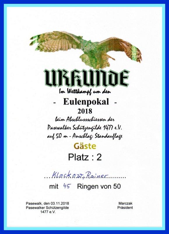 Urkunde des 2. Platzes von Rainer Klockow beim Eulenschießen der Pasewalker Schützengilde 1477 e.V. vom 03.11.2018