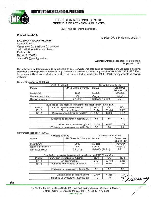 Pruebas de eficiencia de convertidores cataliticos en vehiculos con sistema abordo OBD II