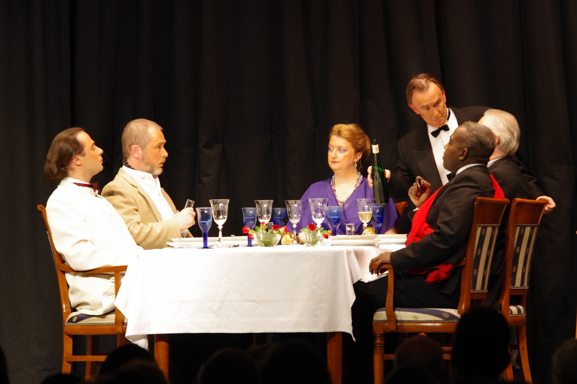 "Olivier Gigaud, Jürgen Stockhausen, Sarnia Schlüßer, Mike Riepl, Roy Mroch and Joesph Sweet in ""Dinner for Five"" by Mike Riepl - Jan / Feb 2012"