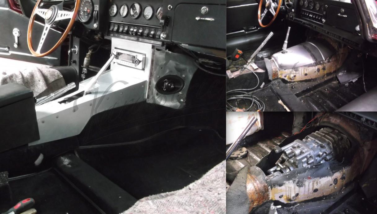 Getriebetunnel für 5 Gang Getriebe im Jaguar E-Type angefertigt, passende Mittelkonsole nach originalem Vorbild kompl. neugebaut